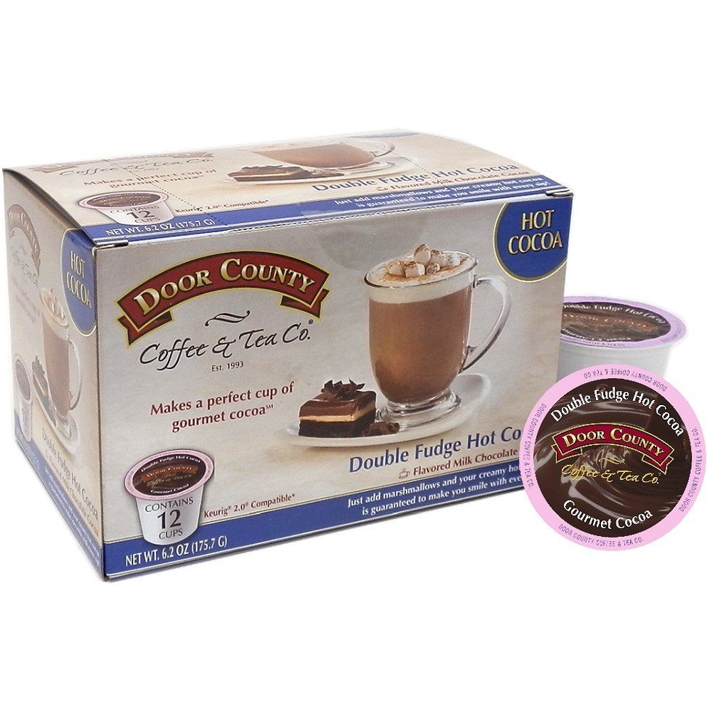 Door County Coffee, Single Serve Cups for Keurig Brewers, Double Fudge Cocoa, 12 Count