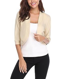 112a83450753c iClosam Gilet Femme Court Boléro Femme Veste Cardigan Manches Longues  Tricot Classique Elégante Jersey Chic pour