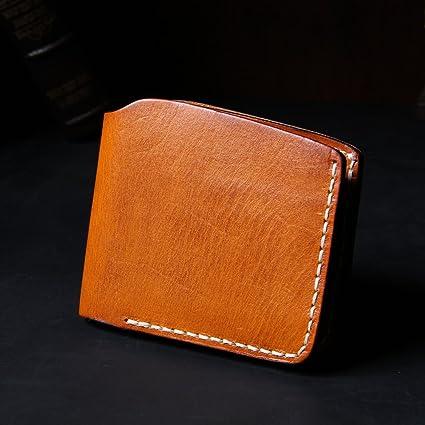 La nueva cartera de cuero curtido de cueros artesanal monedero retro Corto fino pequeña tarjeta monedero