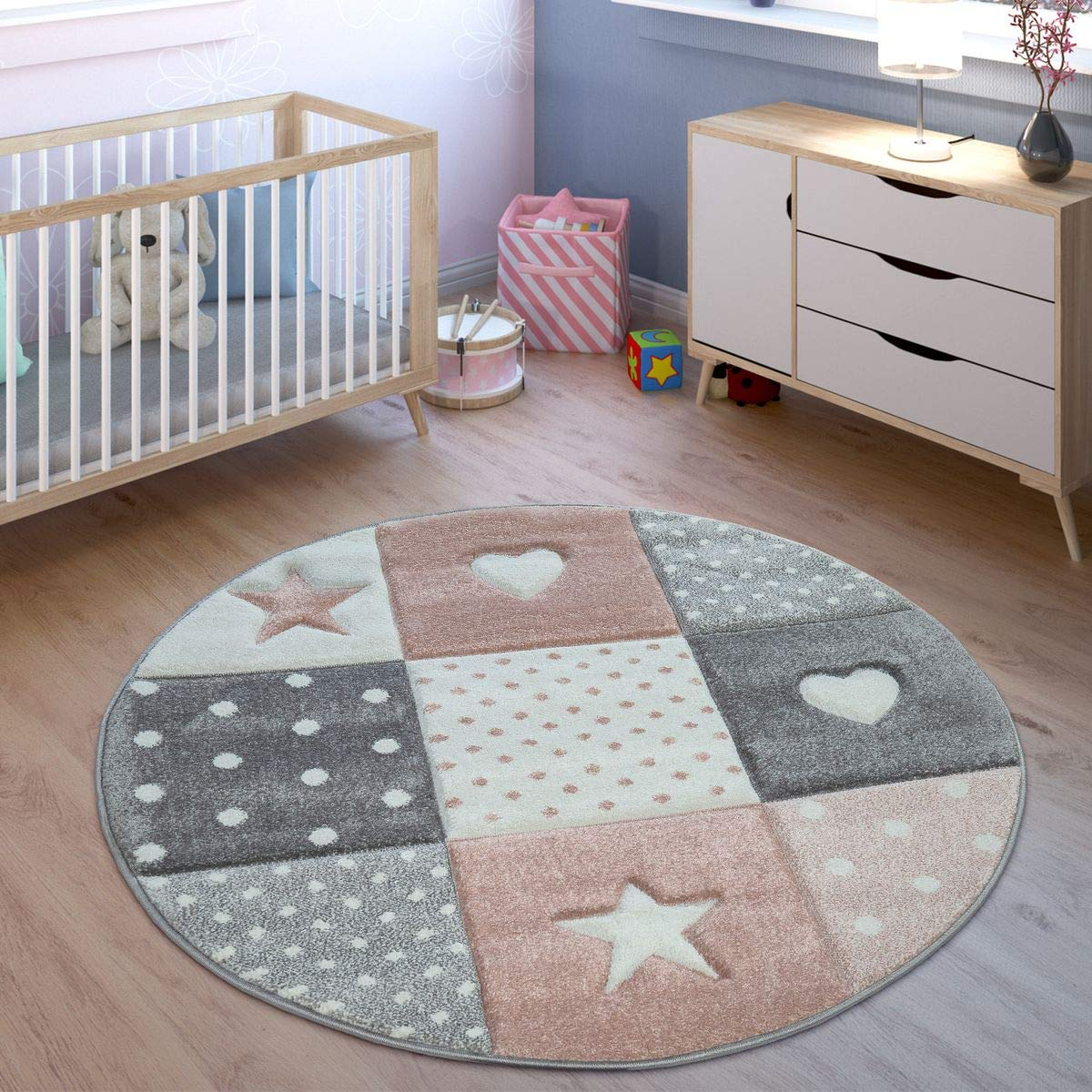 Size:200x290 cm Childrens Rug Pastel Colours Checked Dots Hearts Stars White Grey Pink
