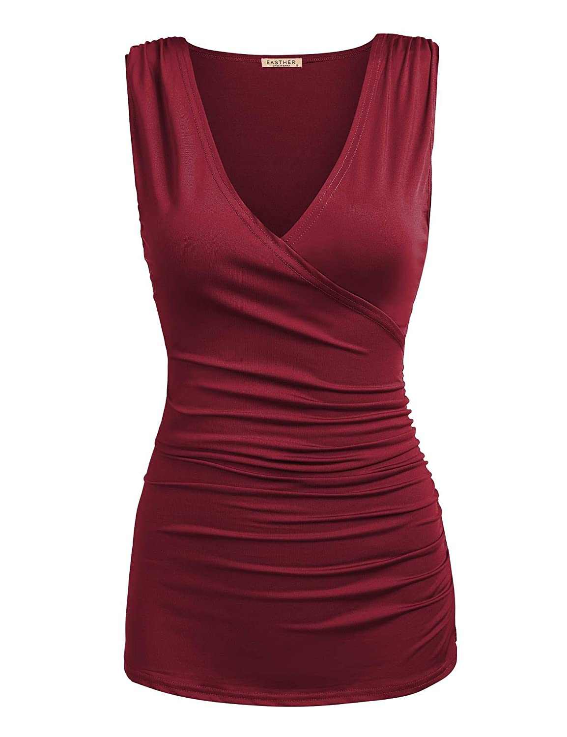EASTHER Womens Summer Solid V Neck Ruched Side Slim Fit Casual Tank Tops