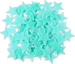 Amaonm 100 Pcs Blue Glow in The Dark Luminous Stars Fluorescent Noctilucent Plastic Wall Stickers Murals Decals for Home Art Decor Ceiling Wall Decorate Kids Babys Bedroom Room Decorations
