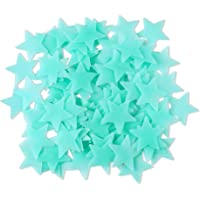 Amaonm 100 Pcs Blue Glow in The Dark Luminous Stars Fluorescent Noctilucent Plastic Wall Stickers Murals Decals for Home…