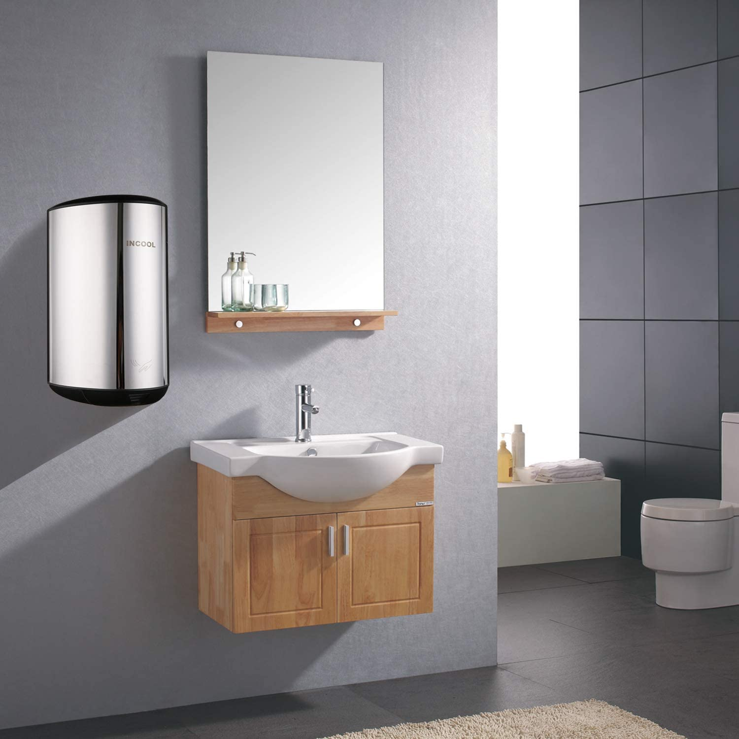 INCOOL Hand Dryer High Speed Automatic Commercial Hand Dryer for Bathroom-Polihed