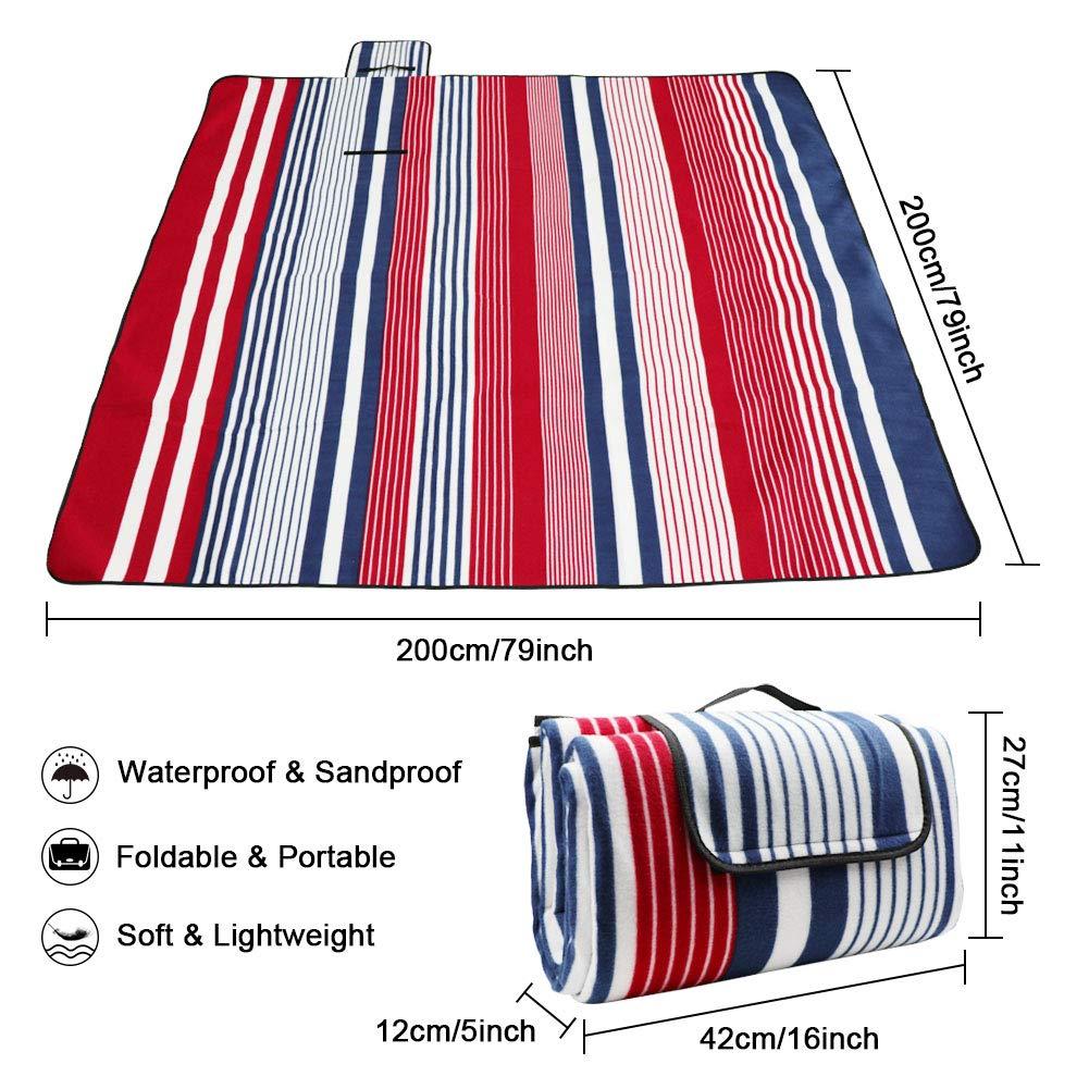 Rot Blau Streifen MAIKEHIGH Picknickdecke Wasserdicht Gro/ße Rot Blau Streifen 200x200 cm Stranddecke Sanddicht Kompakt Vlies f/ür Camping Draussen