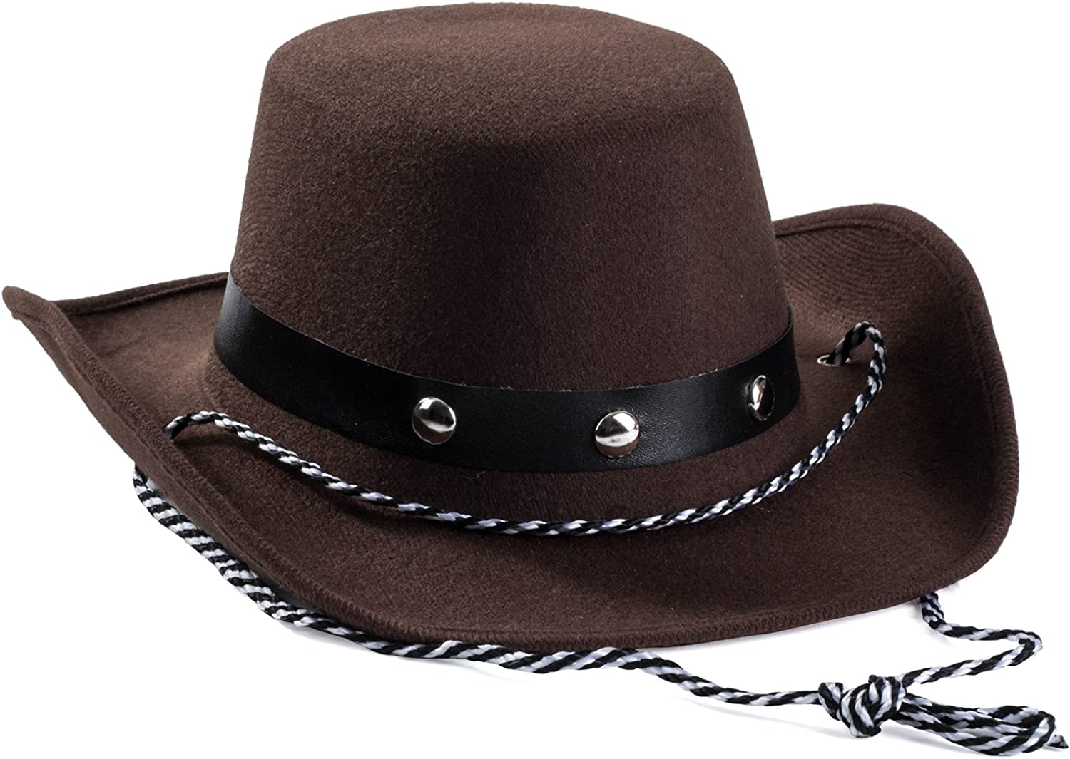 Funny Party Hats Baby Cowboy Hat - Cowboy Hat Toddler – Studded Cowboy Hat - Brown Felt Cowboy Hat - Cowboy Accessories: Clothing