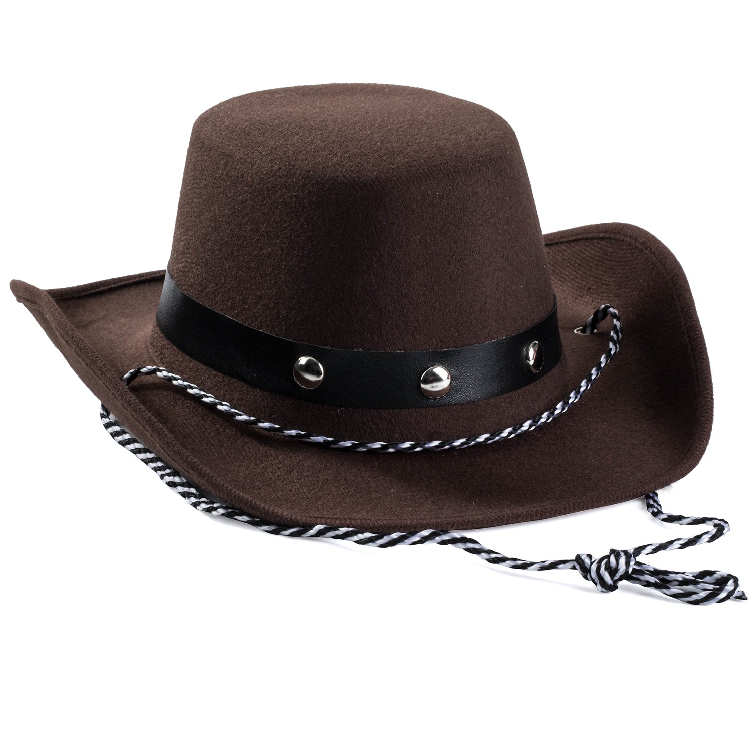 Amazon.com  Baby Cowboy Hat - Cowboy Hat Toddler – Studded Cowboy Hat - Brown  Felt Cowboy Hat - Cowboy Accessories by Funny Party Hats  Sports   Outdoors 986a6d6a912