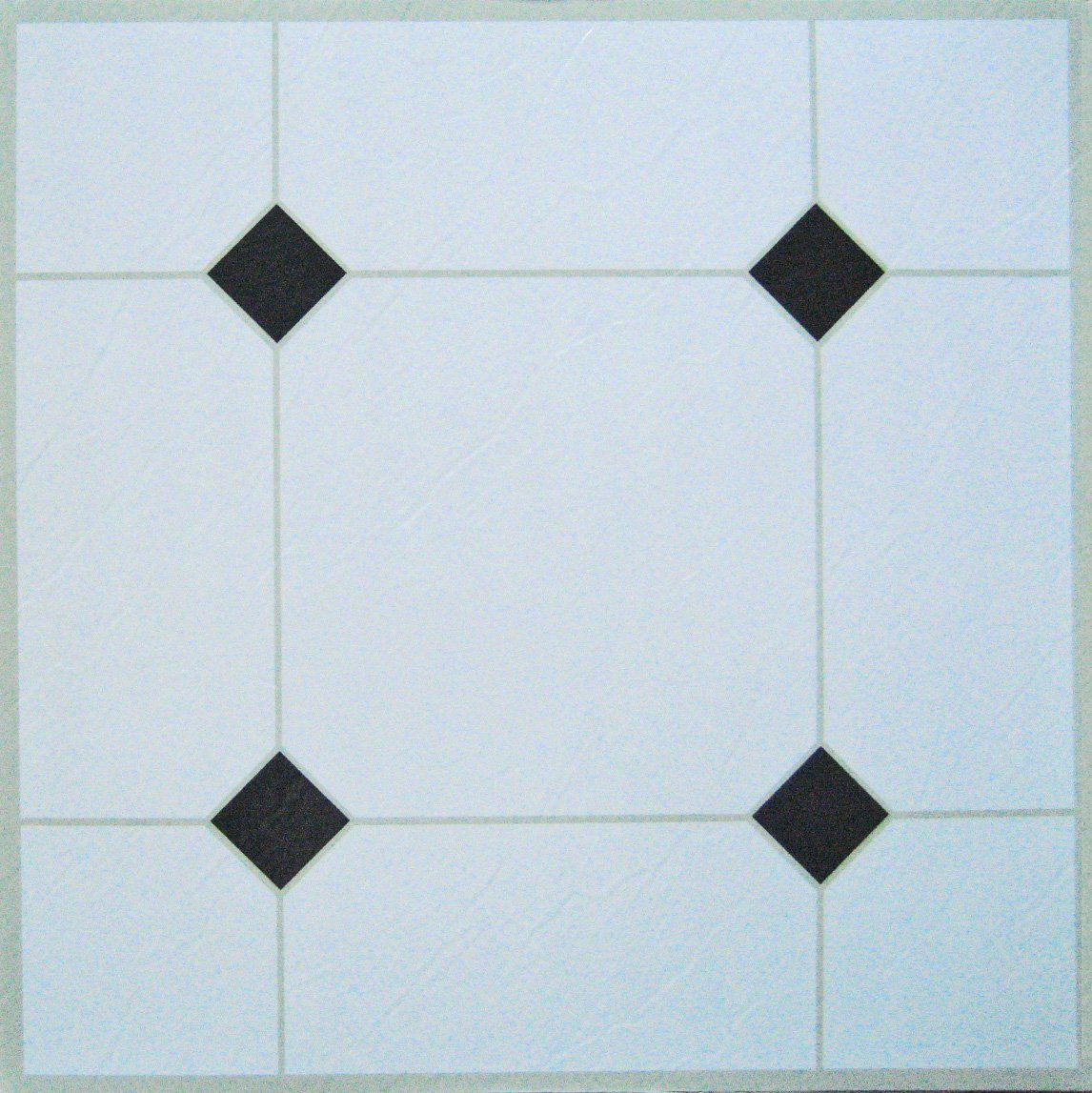 50 Autoadhesivo baldosas DE VINILO: blanco y negro Quality