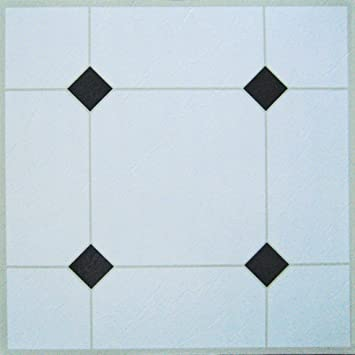 It S Diy Time Lot De 30 Dalles De Sol Auto Adhésives En Vinyle Blanc Noir