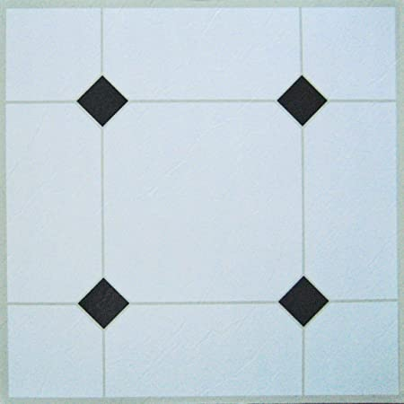100 Self Adhesive Vinyl Floor Tiles White Black Amazon