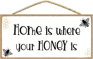 SARAH JOY'S Home is Where Your Honey is - Honey Bee Decor - Bee Kitchen Decor - Bee Decorations for Home - Home Wall Decor Signs - Farmhouse Wall Decor
