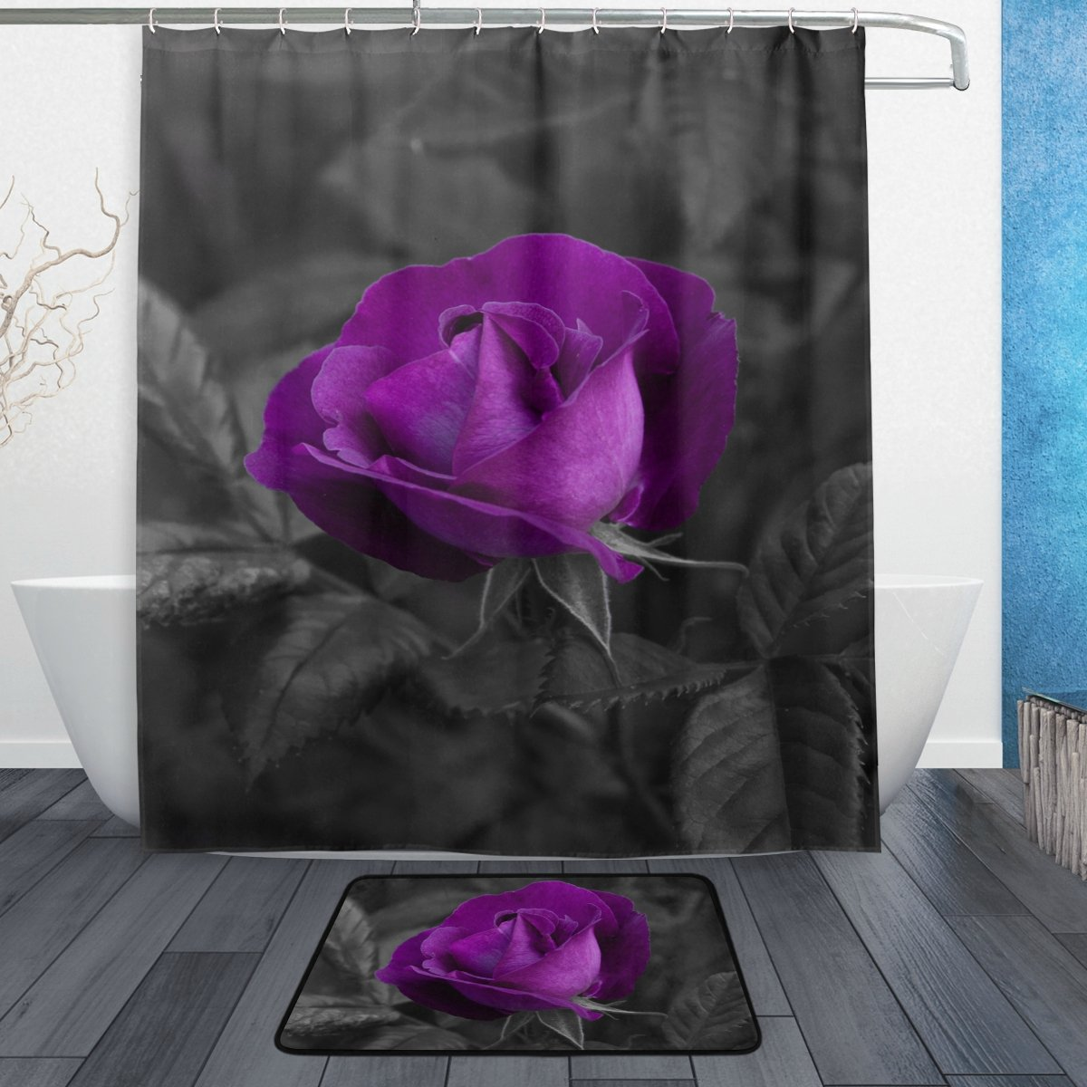 ALAZA Set of 2 Purple Flower 60 X 72 Inches Shower Curtain and Mat Set, Rose Floral Waterproof Fabric Bathroom Curtain and Rug Set with Hooks