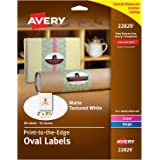 """Avery Oval Labels with Sure Feed for Laser & Inkjet Printers, 2"""" x 3-1/3"""", 80 Labels (22829),White"""