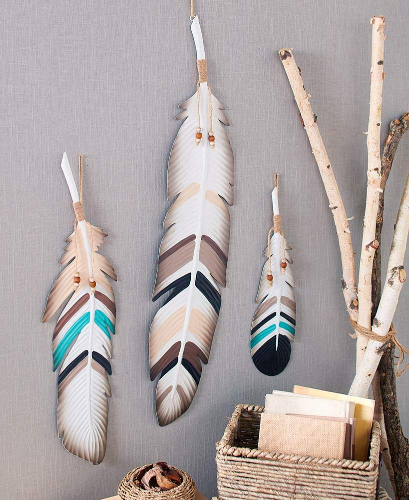 The Lakeside Collection 3-Pc. Metal Feather Wall Décor