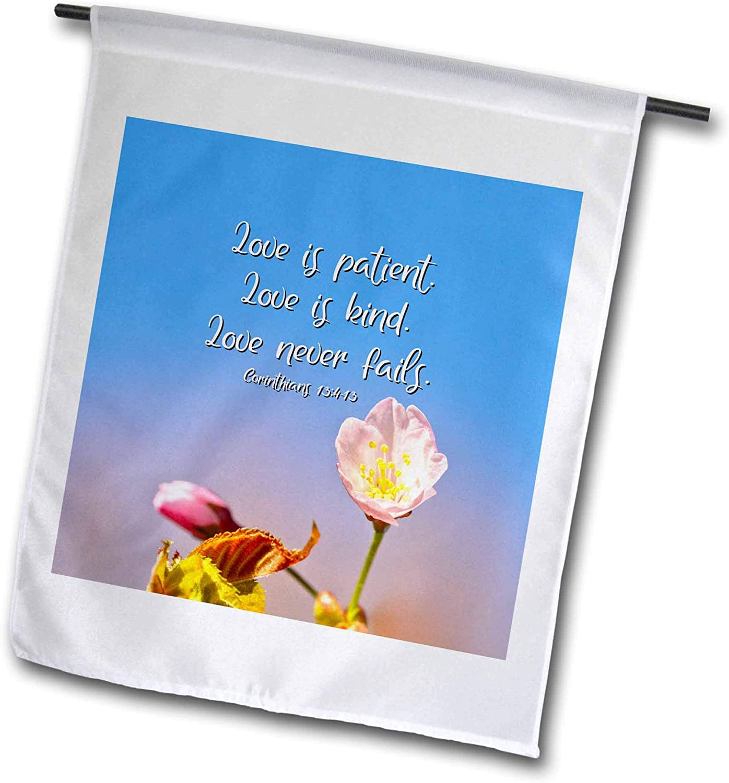 3dRose Alexis Design - Congrats Wishes - Love is Patient. Love is Kind. Love Never Fails. Sakura Flowers - 12 x 18 inch Garden Flag (fl_311530_1)