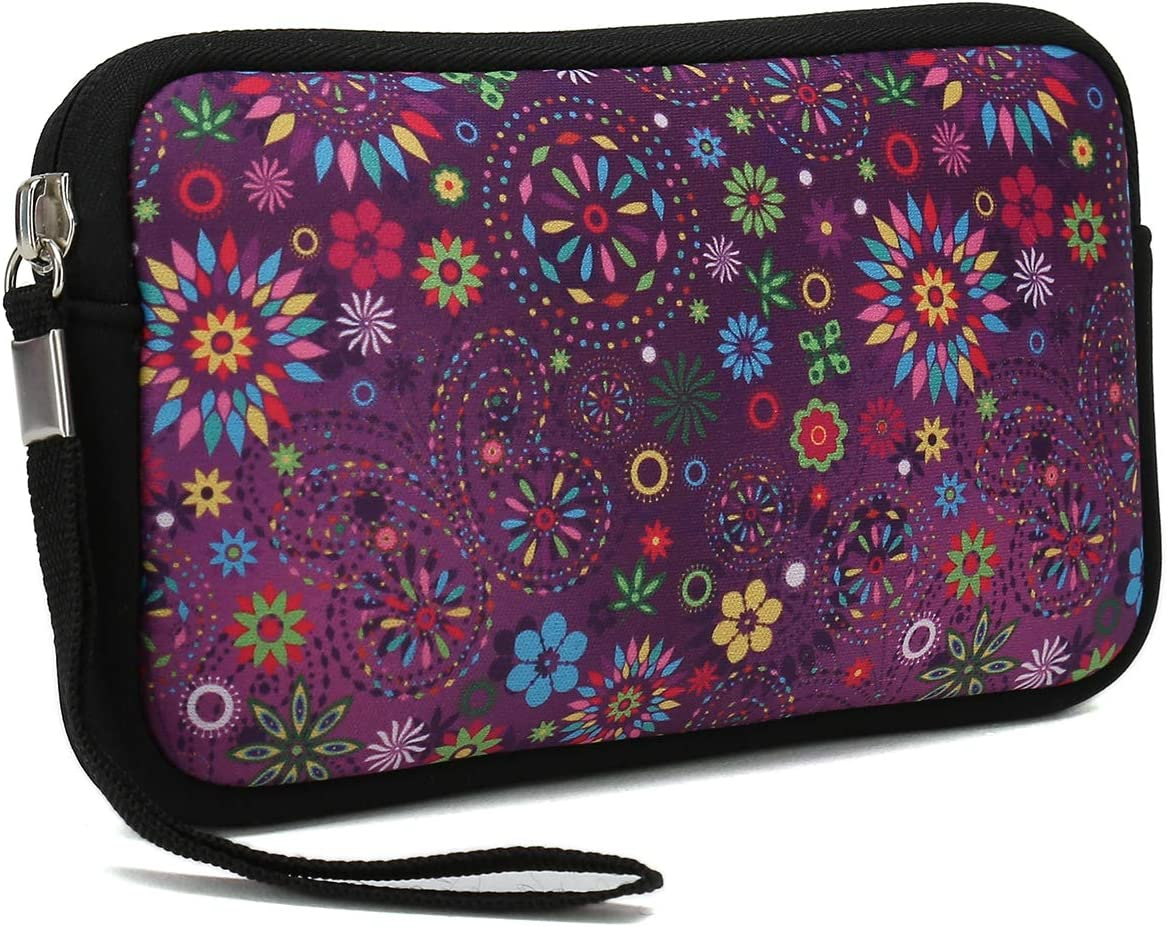 Unisex Portable Neoprene All Smartphone Wristlet Wallet Clutch Purse, Coin Pouch, Pencil Bag, Cosmetic Bag (Purple Flower & Butterfly)