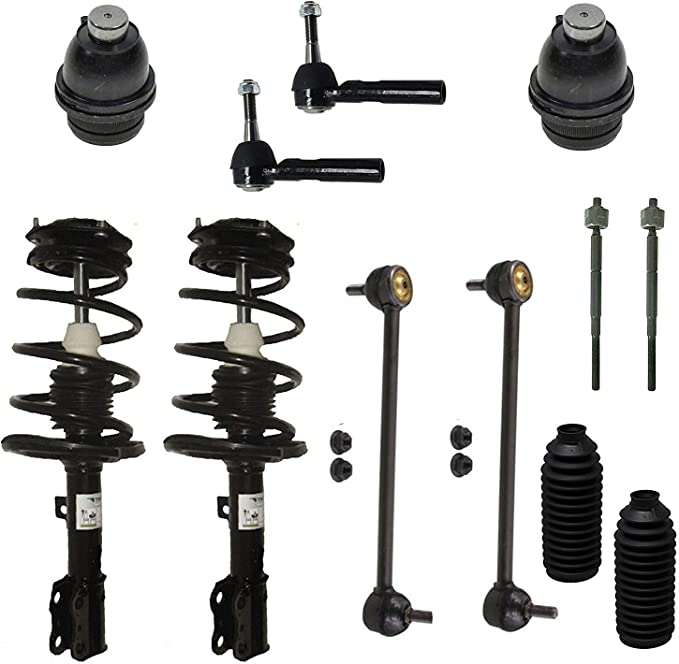 Lower Ball Joints 2007-2017 Jeep Compass MK 6 Piece Front Suspension Kit for 2009-2012 Dodge Caliber, Outer Tie Rods 2007-2017 Jeep Patriot MK Detroit Axle Front Sway Bar Links