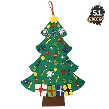 Weihnachtsbaum Dekorieren.Kompanion 51 Stück Filz Weihnachtsbaum Dekoration Abnehmbare Glitzernde Ornamente Wiederverwendbar Und Einfach Zu Hängen Und Zu Dekorieren
