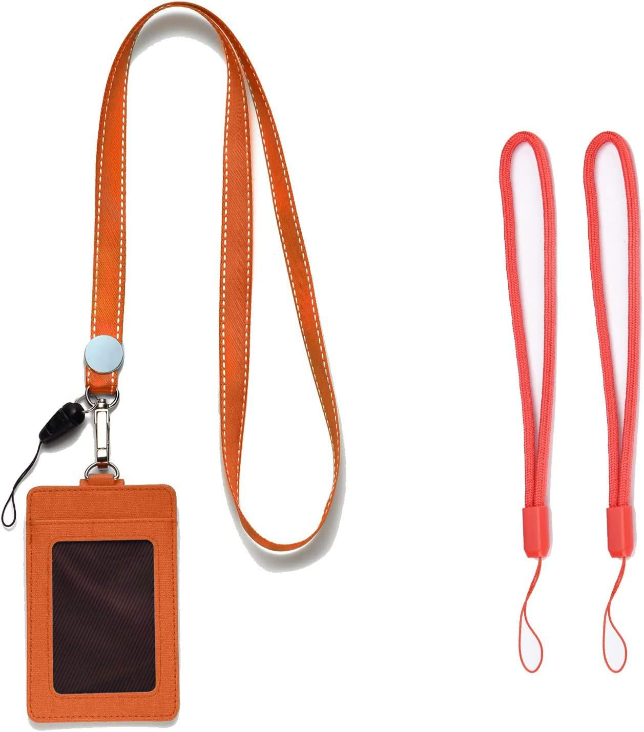 Id Badge Holder With Lanyard Strap For Pu Leather Id Card Holders Orange Lanyards Straps For Keys Kid Women Men Usb 2 Sided Vertical Badges Holders 1 Id Window 2 Card Slot Pack Of 1 Office Products Amazon Com