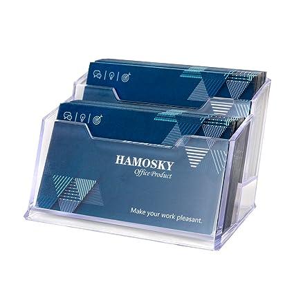 Amazon hamosky business card case holder 2 tier premium hamosky business card case holder 2 tier premium acrylic clear business card holder display colourmoves