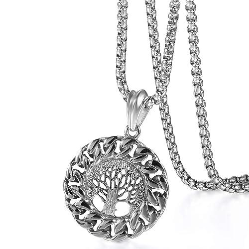 große Auswahl hoch gelobt am besten wählen Oidea Herren Kette Lebensbaum Silber Anhänger Halskette Schmuck 56CM  Kettenlänge, Geschenk für Männer