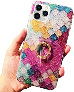 J.west Case for New iPhone 11 Pro Luxury Bling Glitter Rose Mermaid Scale Print Soft TPU Phone Cover for Girls Women Clear Slim Design with Ring Stand Holder Protective Case for iPhone 11 Pro 5.8 inch