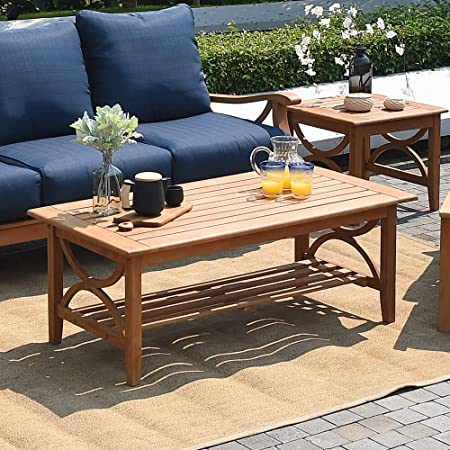 Cambridge-Casual AMZ-170449T Chester Patio Coffee Table, Natural Teak
