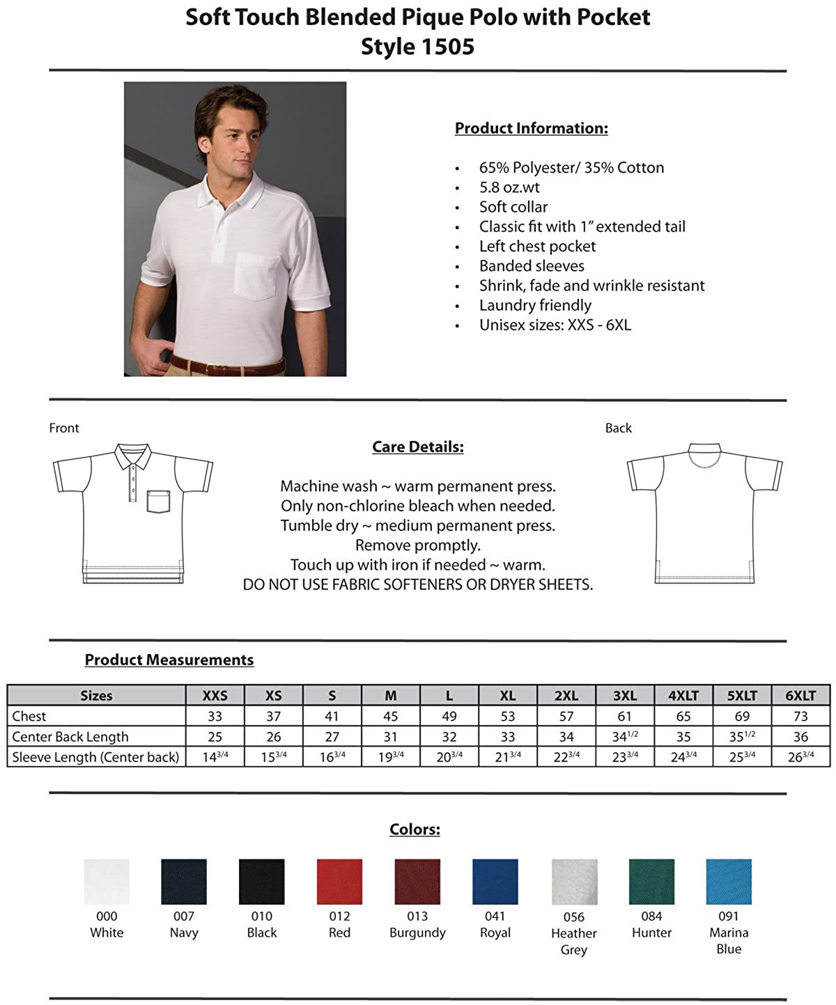 Edwards Big and Tall Short Sleeve Pique Polo Pocket Shirt