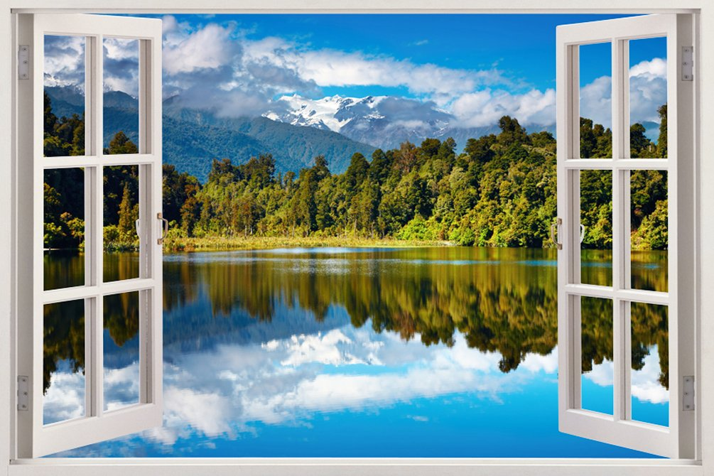 反射 水 山 自然 緑 木 野生 アウトドア 風景 景色 明るい 鮮やか 自宅 会社 キッチン 子供部屋 キッツ ギフト 3D 独特 ユニーク 窓 奥行 おしゃれ ビニール樹脂 印刷 取り外しのきく 壁 ステッカー ウォールステッカー サイズ 85.09 × 119.38 cm B00O907MK8 WIN-150 WIN-150