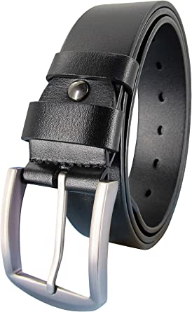 Gents\Mens 1.5 inch Real Full 100/% Grain Leather Belts Silver Buckle