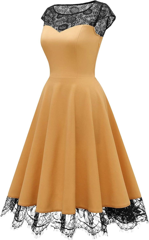 HomRain 1950er Elegant Spitzenkleid Rundhals festlich Brautjungfern Damen Cocktailkleider Abendkleid f/ür Hochzeit Partykleid