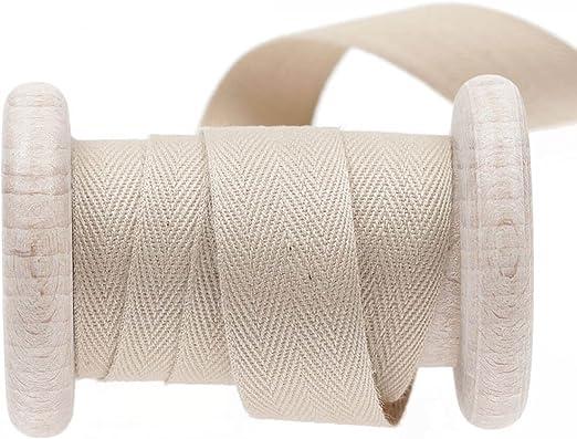 Cinta algodón sarga, rollo de 50 metros - Beige RAINYDAY 11 mm ...