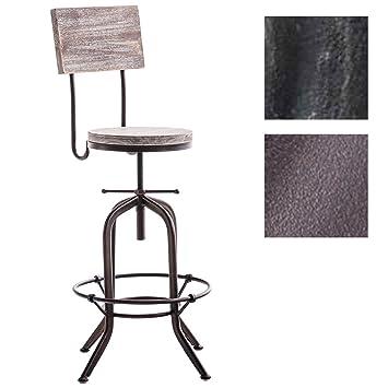 Tabouret De Bar Industriel Avec Dossier.Clp Tabouret De Bar Design Belt Assise En Bois Support En Metal Chaise Haute Style Industriel Avec Dossier Hauteur Reglable Couleur Bronze