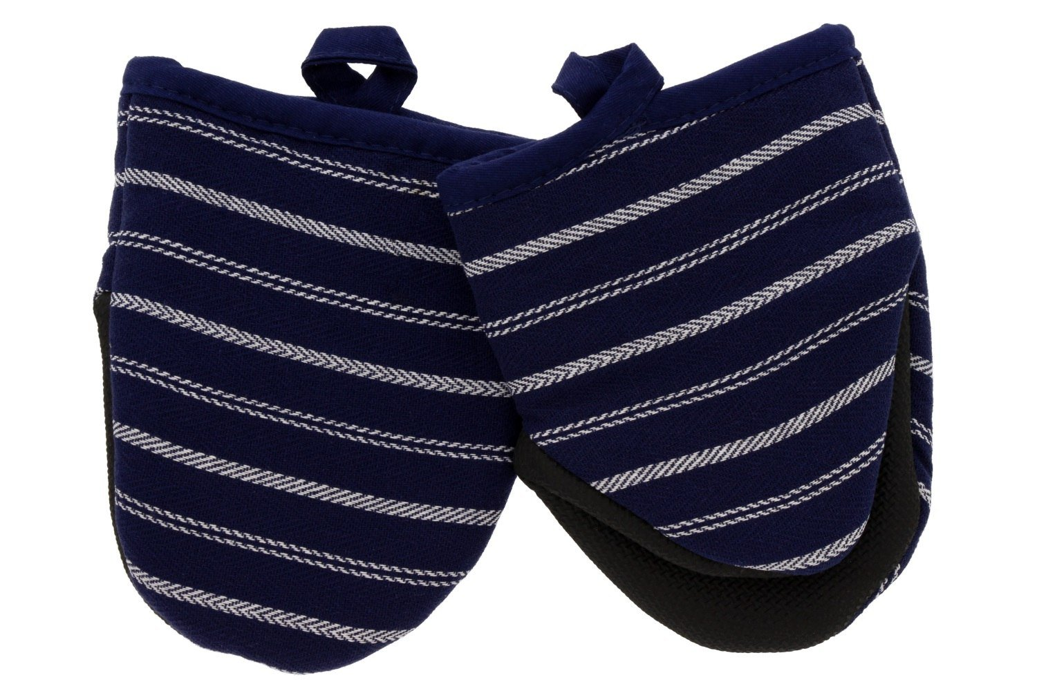 """Cuisinart Mini Oven Mitts w/Neoprene for Easy Gripping, Twill Stripe Kitchen Accessory, Heat Resistant up to 500 degrees F, 5.5"""" x 7"""", Set of 2 - Navy Aura"""