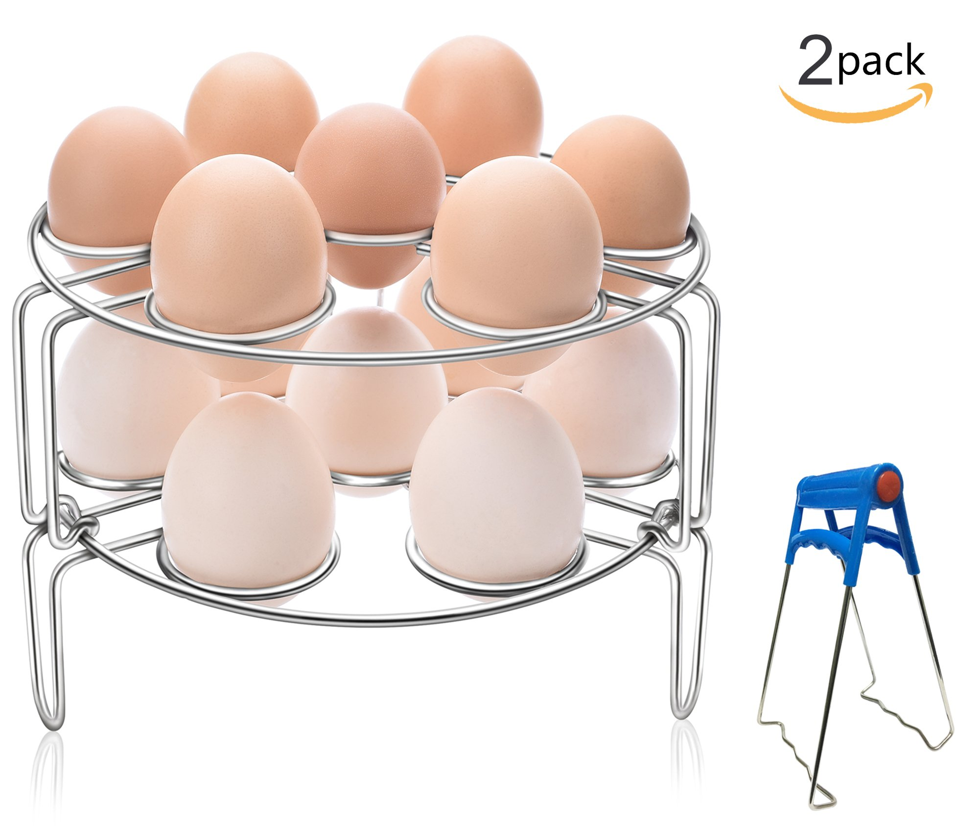 Egg Steamer Rack GUOXUAN 2-Pack Stainless Steel Kitchen Trivet Stackable Vegetable Steam Rack for Instant Pot And Pressure Cooker Accessories