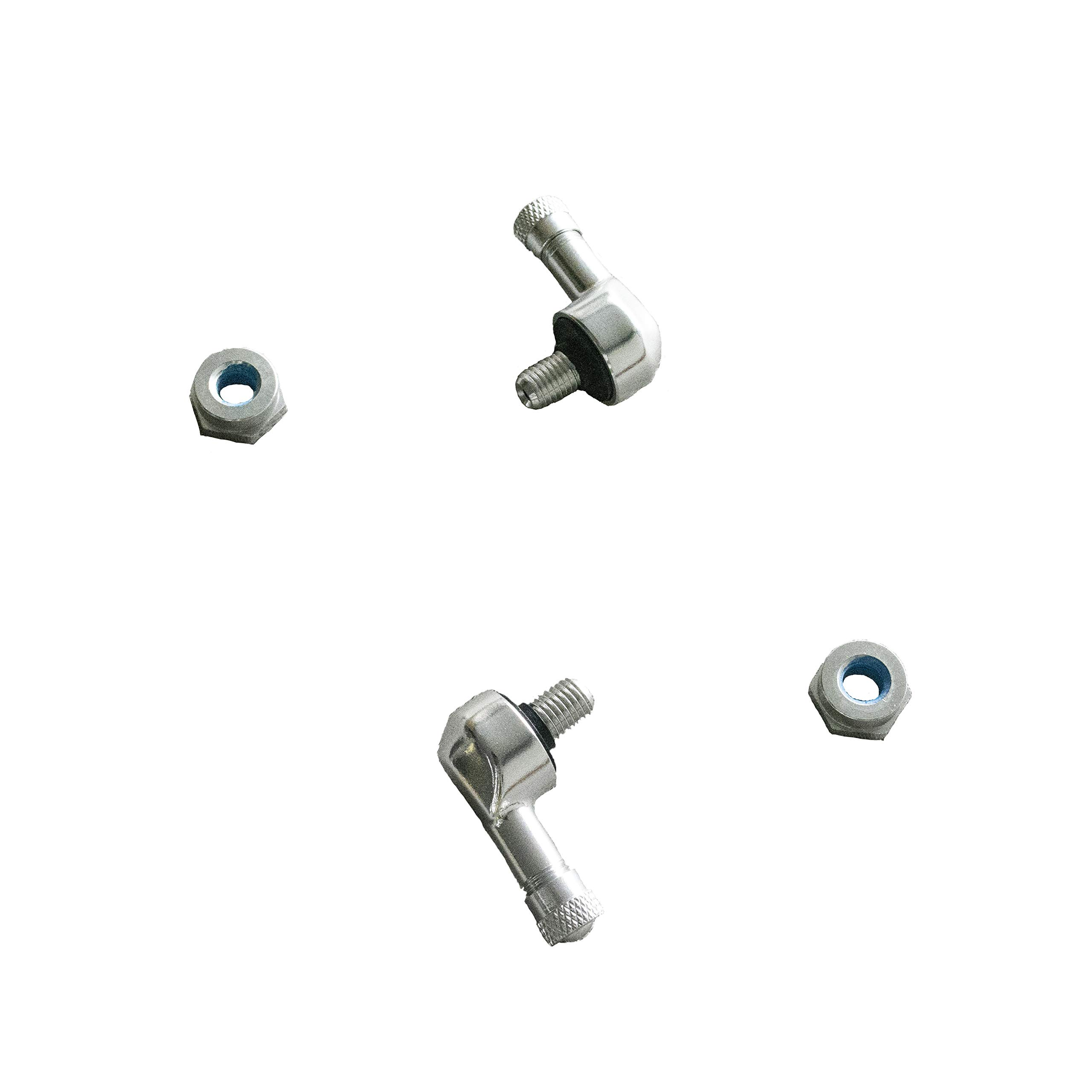 NEX Performance Angled forged Alloy Valve Stem with Lock Nut, 0.357in (8.3mm) Size, Silver by NEX Performance