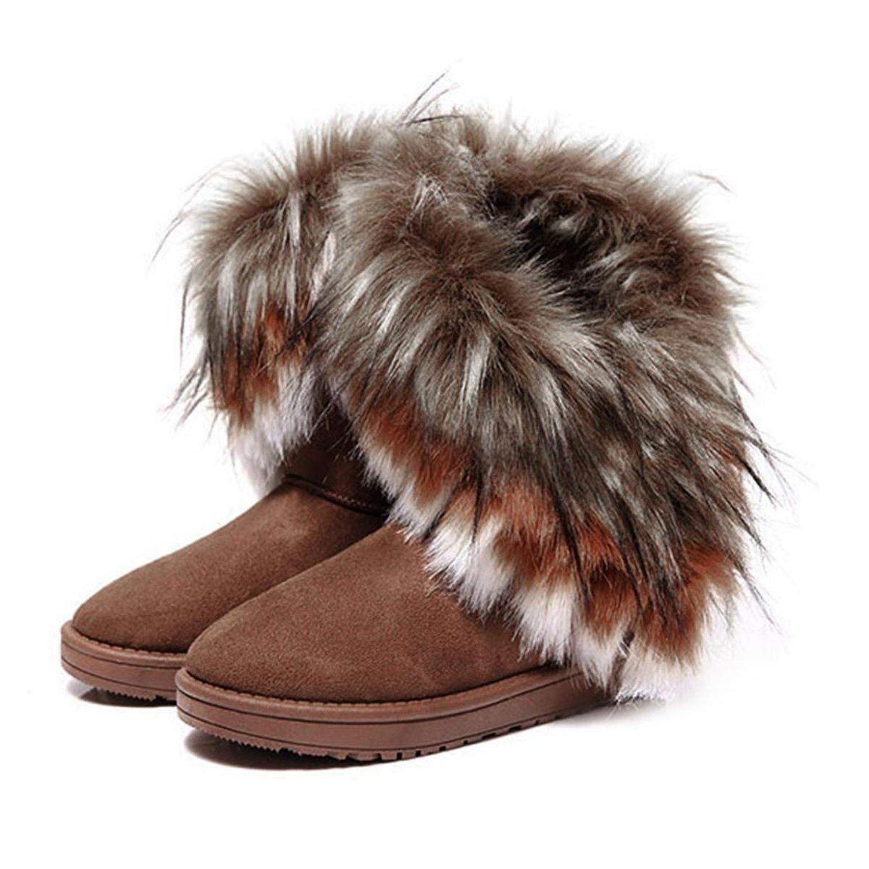 Stiefel Schnee Damen Winter Pelz Schuhe Stiefeletten Minetom Rc4A3jq5L