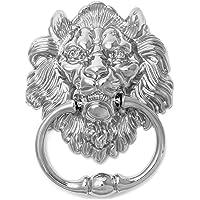 QWORK leeuwenkop deurklopper met schroeven, zilverkleurig