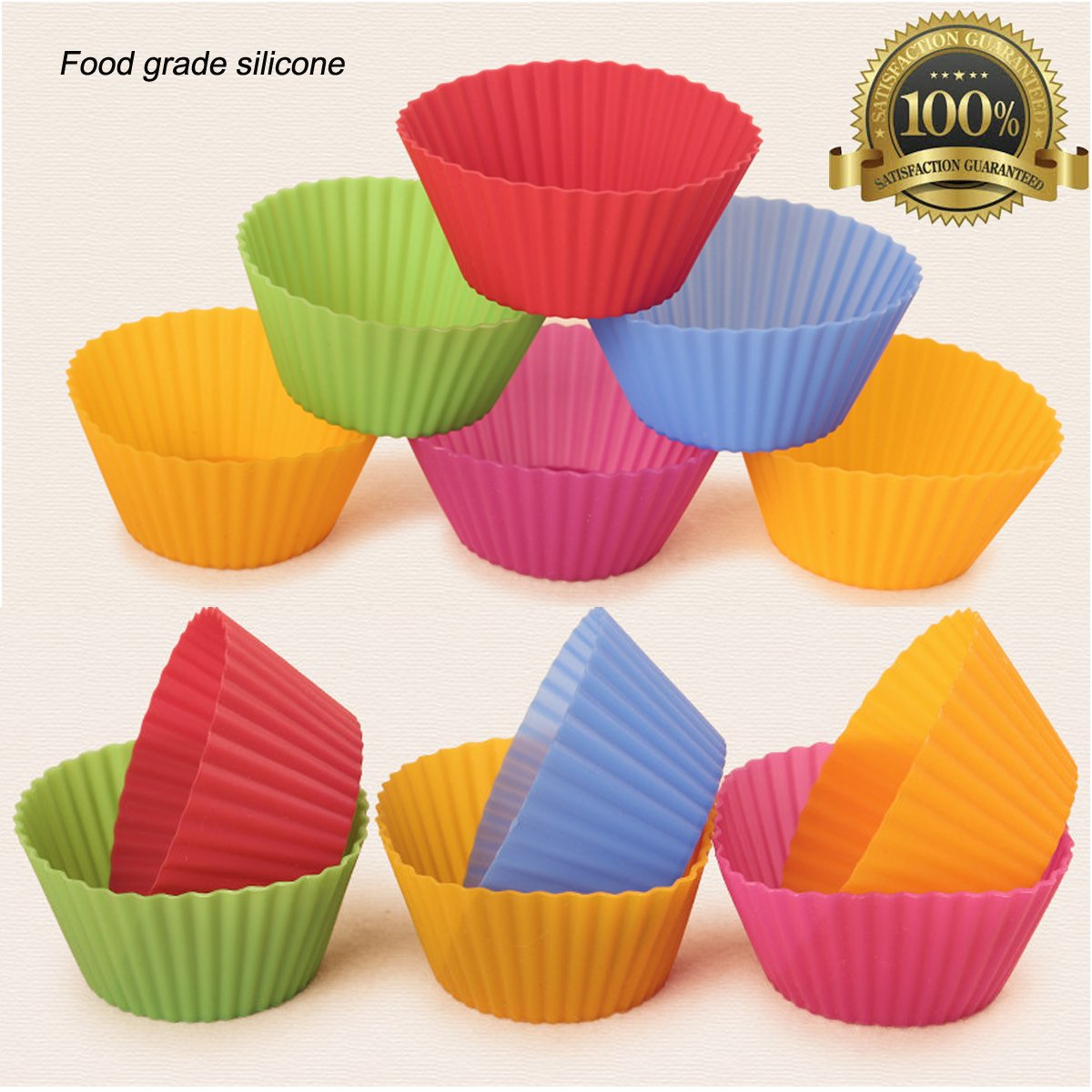 Rainbow Thicken Silicone Cupcake Muffin Baking Cups Liners Molds Sets 6 Vibrant Colors Round IDEASY Reusable /& Nonstick Muffin Molds,36 Pack
