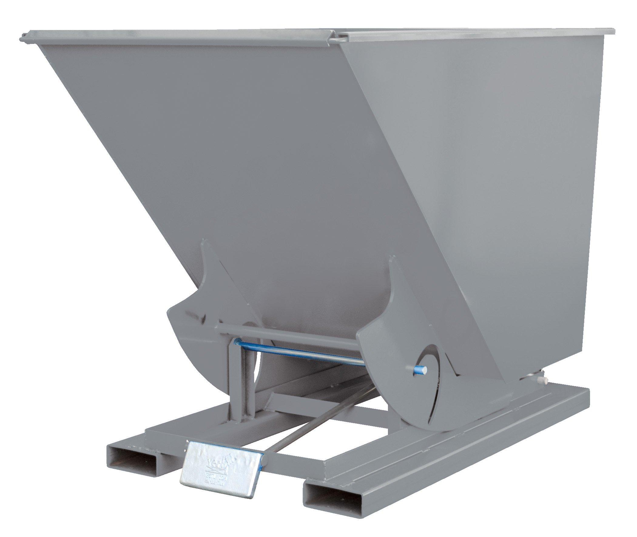 Vestil D-50-HD-GY-SG Self-Dump HD Hopper, 0.5 cu. yd, 6000 lb. Capacity, Overall L x W x H (in.) 51-7/8'' x 33-9/16'' x 38-1/16'', Grey