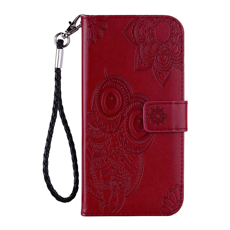 Vert Folio Portefeuille Cuir Magn/étique Stand Housse pour Huawei P30 /Étui avec Motif Hibou DENDICO Coque Huawei P30
