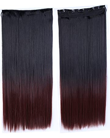 Amazon Com Long Hairpiece Natural Black To Dark Auburn Ombre Color