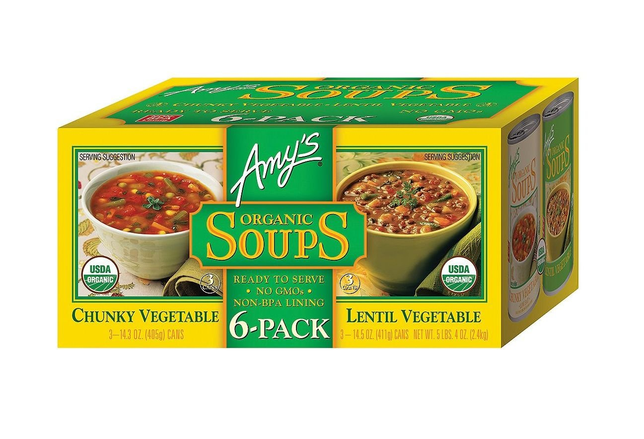 Amy's organic soups, chunky vegetable, lentil vegetable 6 pack (3 count each, 14.3 ounces)