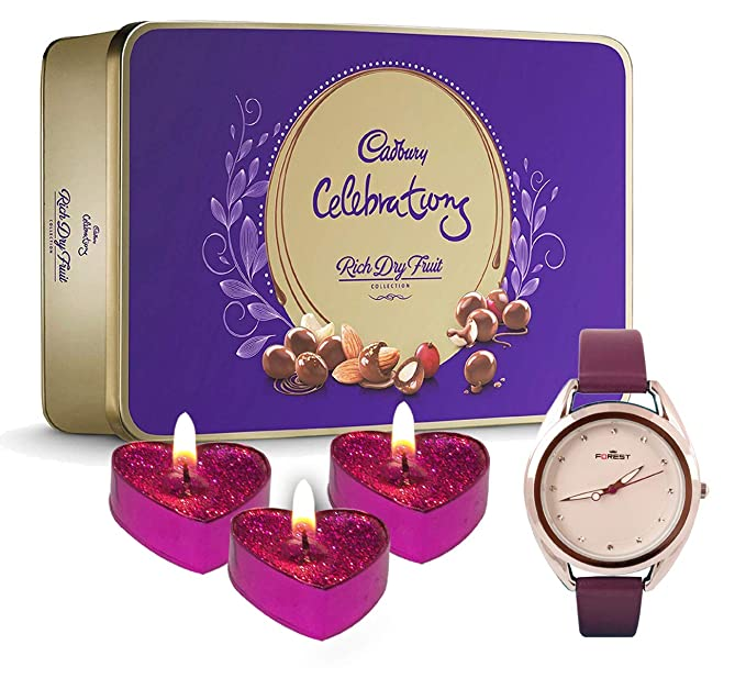 Natali Gifts For Girls Women Cadbury Rich Dry Fruit 3 Decorative Candles Wrist Watch Gift For Mother Sister Girlfriend Fiancee Christmas New Year Gift For Sister Amazon In Grocery Gourmet Foods