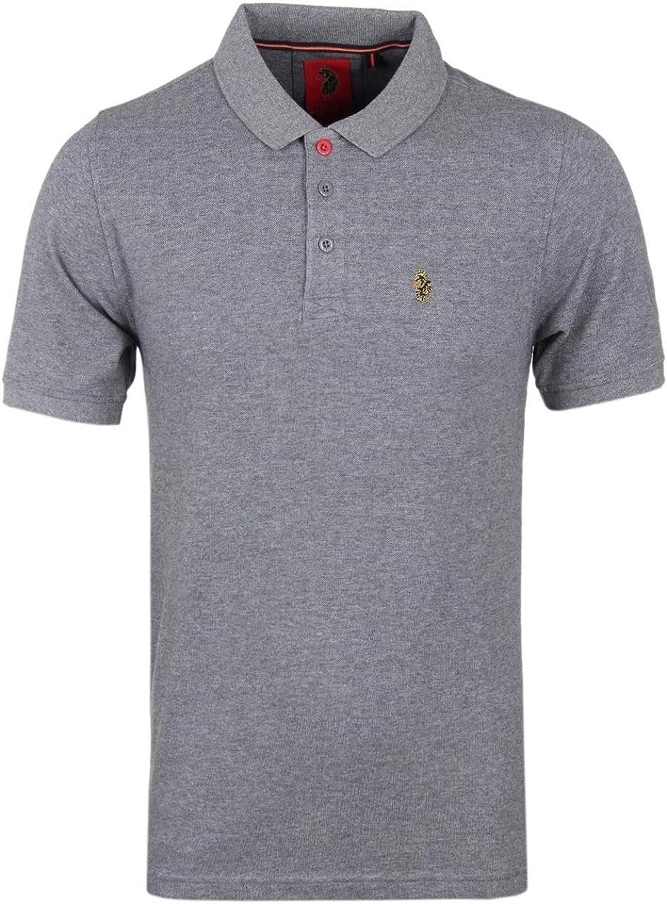 LUKE Mens 1977 Williams Polo Shirt in Mid Grey Marl