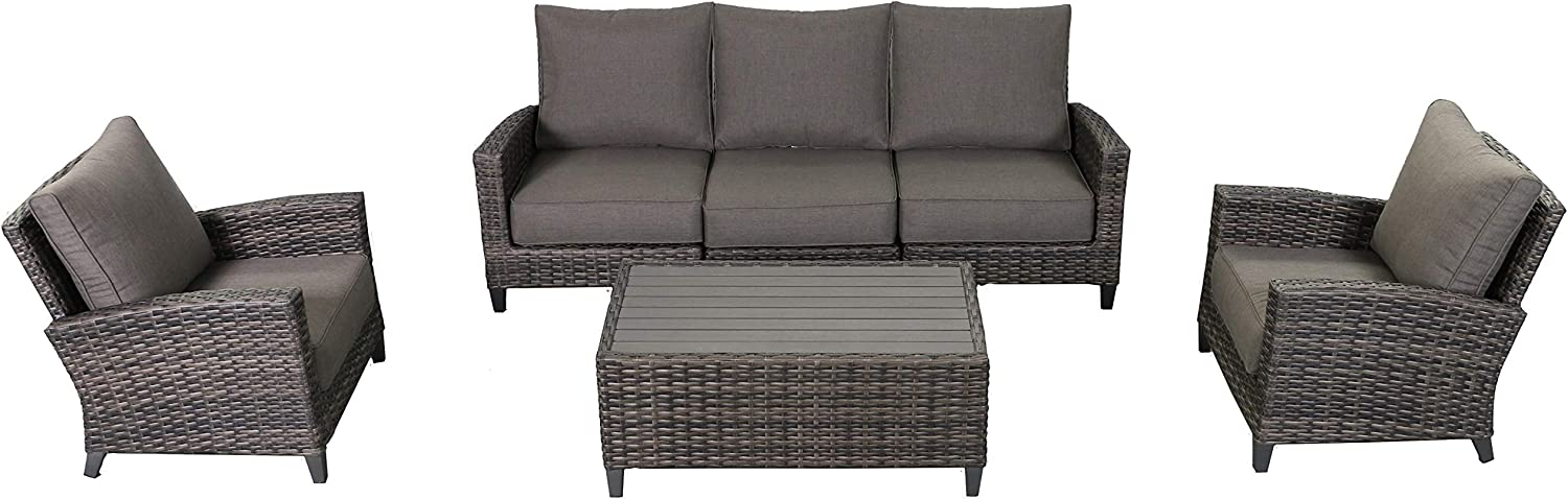Envelor Barbados 4-Piece Conversation Set Outdoor Patio Furniture Rattan Wicker Couch Includes Grey Olefin Cushions and Coffee Table
