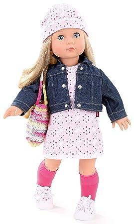 Götz 1490366 Precious Day Girls Jessica Color&Lace Puppe - 46 cm große Stehpuppe, Blonde Lange Haare, Blaue Schlafaugen - 10