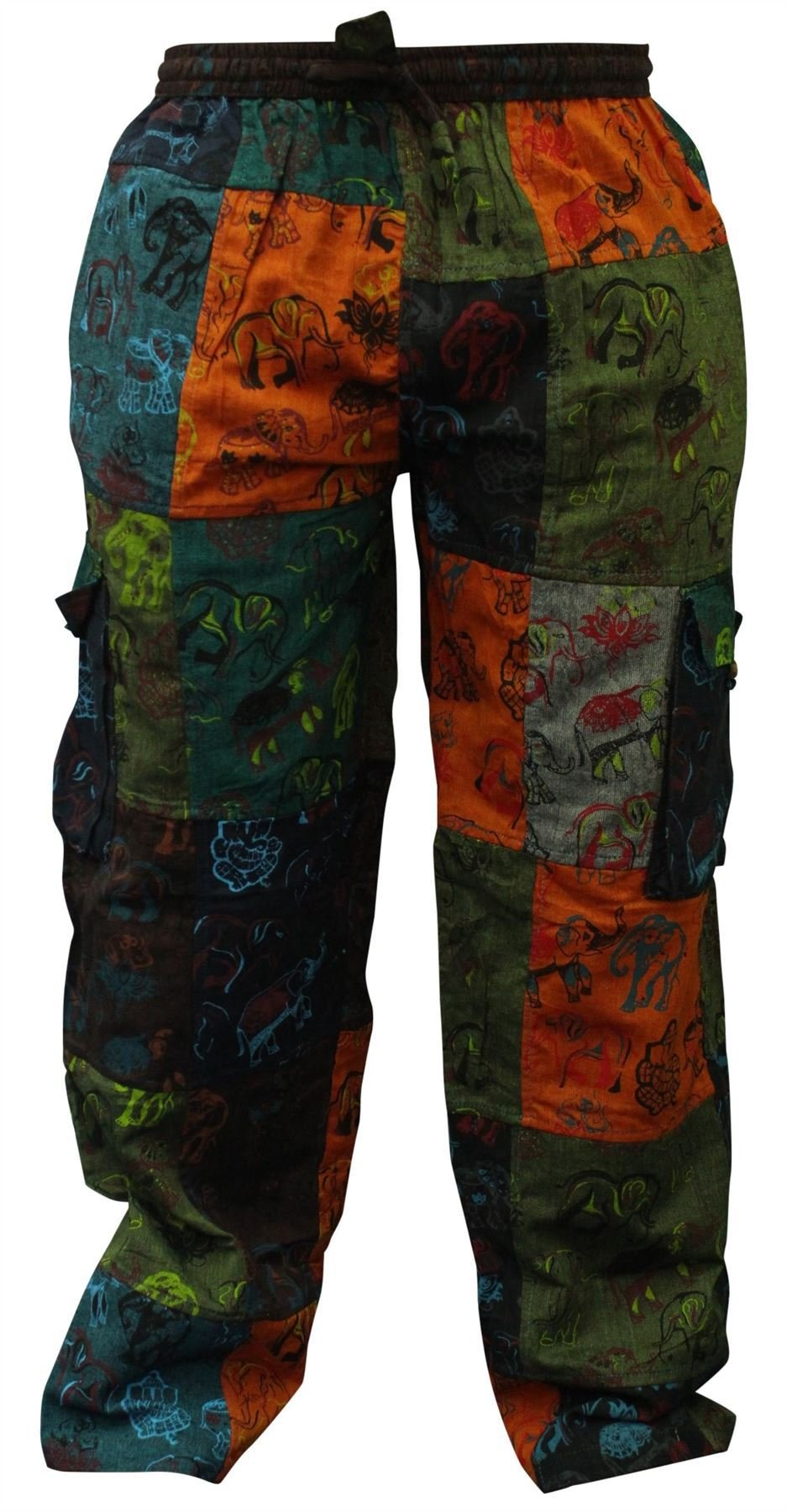 Shopoholic Fashion Mens Summer Hippie Cargo Pockets Combat Trousers (S)