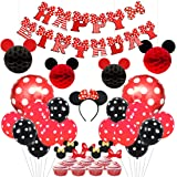 Mickey and Minnie Party Supplies Red and Black Ears Headband Happy Birthday Banner Polka Dot Balloons Set for Minnie…