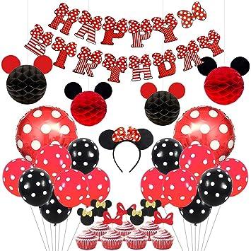 Kreatwow Artículos de Fiesta de Mickey y Minnie Diadema de Orejas Rojas y Negras Banner de Feliz cumpleaños Globos de Lunares para Decoraciones de ...